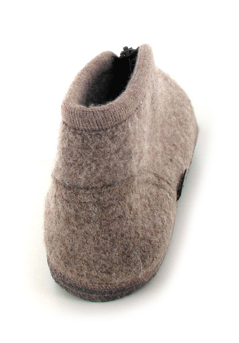 Haflinger 174 Boiled Wool Slipper Zipper In Beige